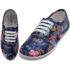 W6505 - Wholesale Women's Canvas Lace Up Shoes ( *3D Blue Rose Printed )