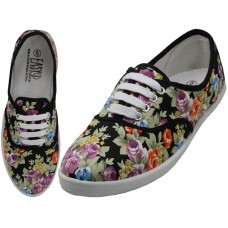 W6506 - Wholesale Women's Canvas Lace Up sHOES ( *Jet Black Floral PrintED )