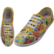 W6507 - Wholesale Women's Canvas Lace Up Shoes ( *Yellow Floral Printed )