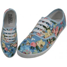 W6508 - Wholesale Women's Canvas Lace Up Shoes ( *Sky Blue Floral Printed )