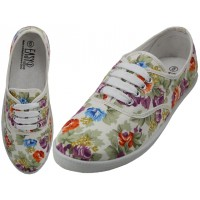 W6509 - Wholesale Women's Canvas Lace Up White With Multi Colors Floral Print