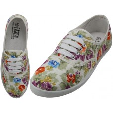 W6509 - Wholesale Women's Canvas Lace Up Shoes ( *White With Multi Colors Floral Print )