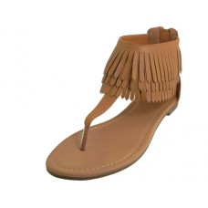 W6600L-C Wholesale Women's Fringe Thong Sandasl ( *Beige Color )