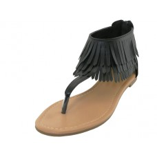 W6600 - Wholesale Woman's Fringe Thong Sandals ( *Black White Beige or Red )