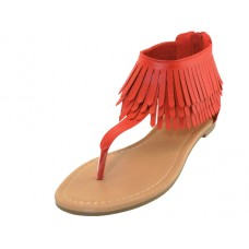 "W6600L-R Wholesale Women's ""EasyUSA"" Pu Fringe Thong Sandals ( *Red Color ) *Close Out $3.50/Pr Case $63.00"