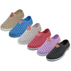 "W6690L-A Wholesale Women's ""Wave"" Soft Light Weight Slip On Sandals ( *Asst. Black, White, Purple, Red, Lt. Blue And Beige )"