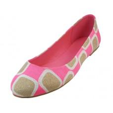 W6700L-P - Wholesale Women's Printed Patch Ballet Flats ( *Pink Color )
