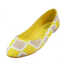W6700L-Y Wholesale Women's Printed Patch Ballerina Shoes ( *Yellow Color )