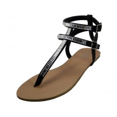 W6800L-B Wholesale Women's Rhinestone Gladiator Sandals ( *Black Color )