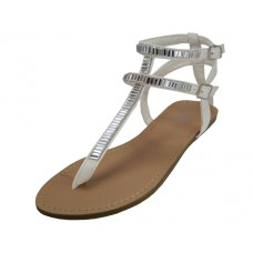 W6800L-W Wholesale Women's Rhinestone Gladiator Sandals ( *White Color )