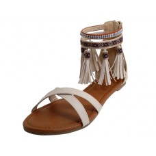 W7102  - Wholesale Woman's Criss Cross Tassels Sandals ( *Black or Beige )