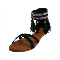 W7102L-B Wholesale Women's Cris Cross Tassels Sandals ( *Black Color )