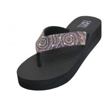 "W722L-RG Wholesale ""EasyUSA"" Women's Rhinestone Upper Wedge Thong Sandals ( *Rose Gold Color )"