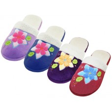 W7450-A - Wholesale Women's Velour Floral Embroidery Upper Close Toe  House Slippers ( *Asst. Red, Purple, Navy & Lilac )
