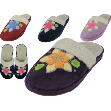 W7450-A - Wholesale Women's Close Toe Velour Floral Embroidery House Slippers ( *Asst. Red, Purple, Navy & Lilac )
