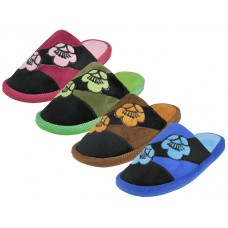 W7460-A - Wholesale Women's Satin Floral Ptinted Plush Upper Close Toe House Slippers ( *Asst. Blue, Pink, Green & Brown )