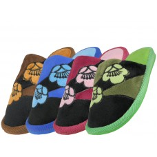 W7460-A - Wholesale Women's Satin Floral Ptinted Plush Upper Close Toe BedRoom Slippers ( *Asst. Blue, Pink, Green & Brown )