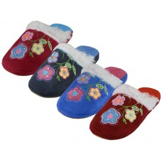 W7470-A - Wholesale Women's Satin Velour Floral Embroidery Upper Close Toe House Slippers ( *Asst. Fuchsia, Wine, Royal And Navy ) *Last 5 Case