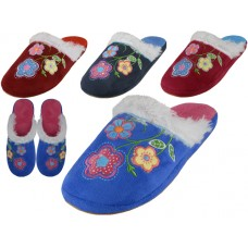 W7470-A - Wholesale Women's Satin Velour Floral Embroidery Upper Close Toe House Slippers ( *Asst. Fuchsia, Wine, Royal And Navy )