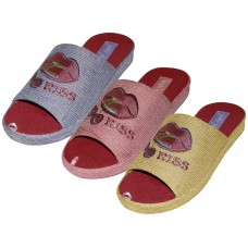 W7480-A - Wholesale Women's Satin Lip Kiss Cherry Embroidery Upper Open Toe House Slippers ( *Asst. Purple, Pink And Yellow )