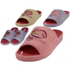 W7480-A - Wholesale Women's Satin Lip Kiss Cherry Embroidery Upper Close Toe House Slippers ( *Asst. Purple, Pink And Yellow )