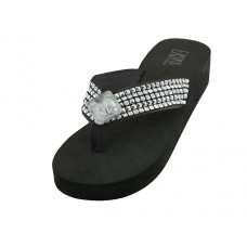 "W755L-BB Wholesale Women's ""EasyUSA"" Wedge Rhinestone Thong Sandals ( *Black Color )"