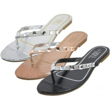 W7900L-A - Wholesale EasyUSA Women's Rhinestones Upper Thong Sandals ( *Asst. Black Rose Gold & Silver )