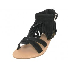 W8100L-B - Wholesale Woman's Suede Gladiator With Tassel ( *Black Color )