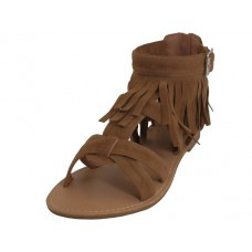 "W8100L-T - Wholesale Women's ""EasyUSA"" Suede Gladiator Fringe Sandals ( *Brown Color )"