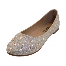 W8200L-RG Wholesale Women's Rhinestone Top Ballet Flat Shoe ( *Rose Gold Color )