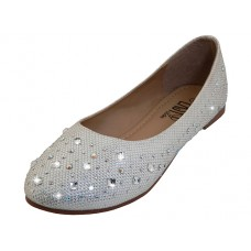 W8200L-S Wholesale Women's Rhinestone Top Ballet Flat Shoe ( *Silver Color )