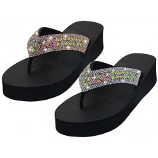 "W822L-A Wholesale ""EasyUSA"" Women's Rhinestone Upper Thong Sandals ( *Asst Silver & Rose Gold Color )"