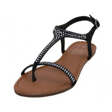 W8303L-B Wholesale Rhinestone Thong Sandals ( *Black Color )