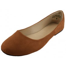 "W8600L-T Wholesale Women's ""EasyUSA"" Micro Suede Walking Ballet Flats ( *Brown Color )"