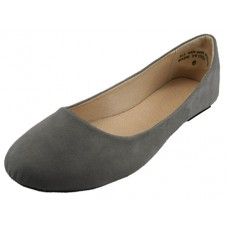 W8600L-G wholesale Women's Micro Suede Walking Ballerina Shoes ( *Gray Color )