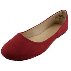 W8600L-M Wholesale Women's Micro Suede Walking Ballerina Shoes ( *Maroon Color )