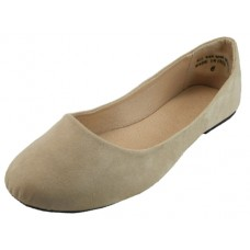 W8600L-C Wholesale Women's Micro Suede Walking Ballerina Shoes ( *Nude Color )