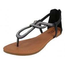 W8701L-B Wholesale Women's Rhinestone Thong Sandals ( *Black Color )