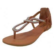 W8701L-T Wholesale Women's Rhinestone Thong Sandals ( *Brown Color )