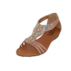 "W8702L-RG - Wholesale Women's ""EasyUSA"" Rhinestone Upper Sandals ( *Rose Gold Color )"