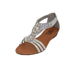 "W8702L-S - Wholesale Women's ""EasyUSA"" Rhinestone Upper Sandals ( *Silver Color )"