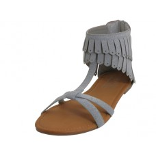 W8800L-G - Wholesale Woman's Suede Slide Sandals With Tassel  ( *Gray Color )