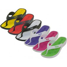 W8830L-A Wholesale Women's 2 Tone Color Mid-Heel Soft Comfort Rubber Thong Sandal ( *Asst. 6 Color )