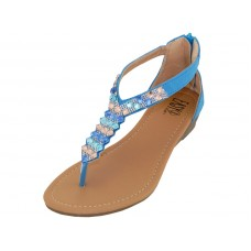 W8901L-X Wholesale Women's Rhinestore Sandals With Back Zipper ( *Blue Color )