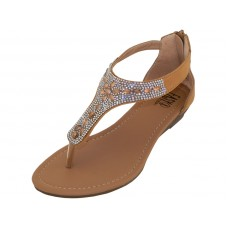 W8902L-C Wholesale Women's RhineStone Sandals With Back Zipper ( *Beige Color ) *Last 2 Case