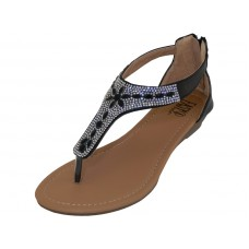 W8902L-B - Wholesale Lady Rhinestone Sandals With Back Zipper ( *Black Color ) *Last 2 Case