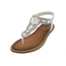 "W8908L-W - Wholesale Women's ""EasyUSA"" Rhinestone Upper Sandals ( *White Color )"