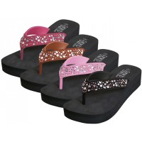 W922L-A - Wholesale Women's EVA Wedge Multi Color Stone Top Sandals ( *Asst. Black, Fuchsia, Pink & Bronze )