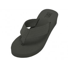 "W9339L-BB - Wholesale Women's ""EasyUSA"" Fabric Upper Wedge Thong Sandals (* Black Color )"