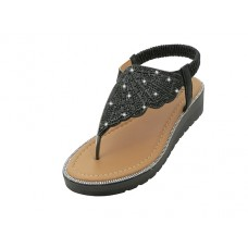 "W9708L-B Wholesale Women's "" EasyUSA"" Rhinestone Upper Sandals ( *Black Color )"